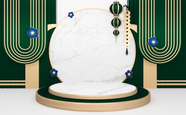 Zielone podium japońskie minimalne geometryczne renderowanie .3d