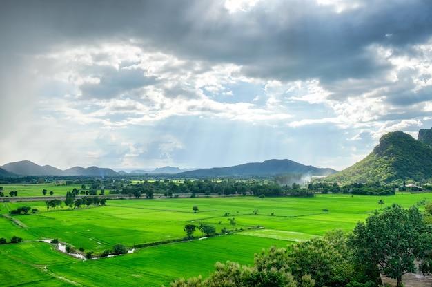Zielone pole i góra na wsi