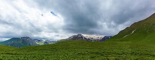 Zielone pole na tle szczytów gór i lodowców w chmurach