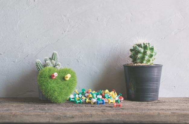 Zielone serce, książka kwiat kaktusa na stół z drewna