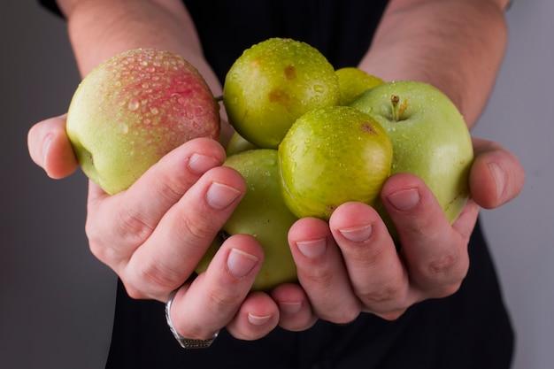 Zielone śliwki wiśniowe i jabłka w rękach osoby