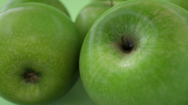 Zielone soczyste jabłko na miękkim jasnozielonym tle ładne jabłko renderowania 3d 3d