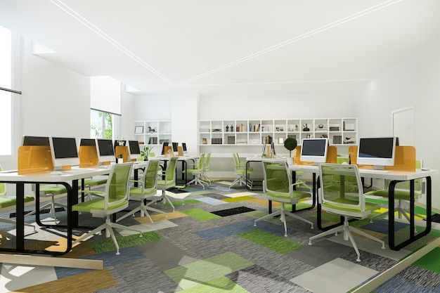 Zielone spotkanie biznesowe i pokój do pracy w biurowcu z regałem