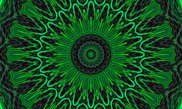 Zielone świecące tło wzór kwiatowy kalejdoskop.