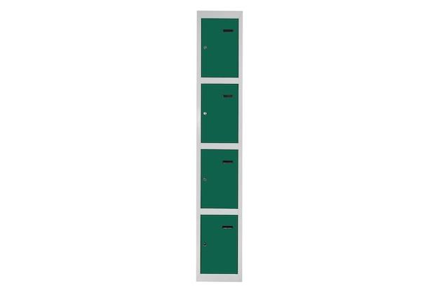 Zielone szafki do szatni. szare metalowe pudełko do zmiany pokoju