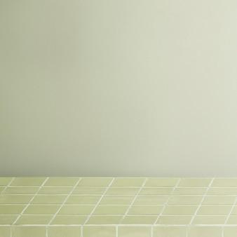 Zielone tło produktu, półka z wzorem siatki
