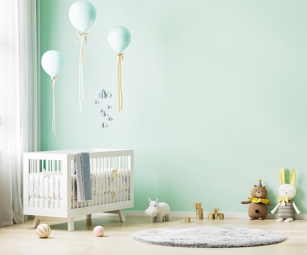 Zielone tło wnętrza pokoju dziecięcego z pościelą dla dzieci