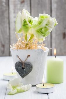Zielone tulipany, zapalona świeca