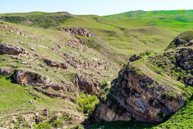 Zielone wzgórza i klify na wiosnę