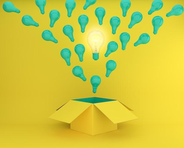 Zielone żarówki rozświetlają różne kreatywne pomysły myśl poza pole na żółtym z powrotem