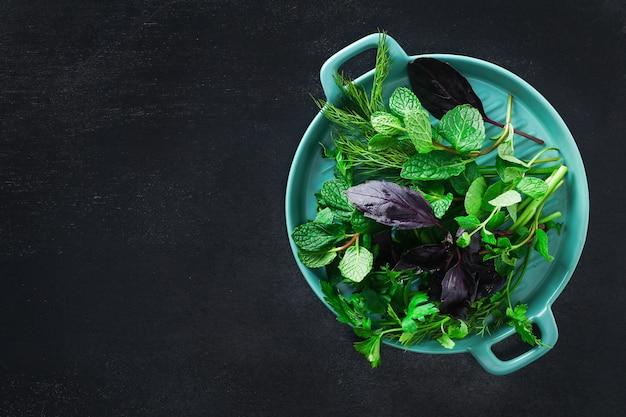 Zielone zioła kulinarne na czarnym tle