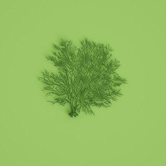 Zielonego morza węgla fan fan rzeźba na pastelu zieleni tle