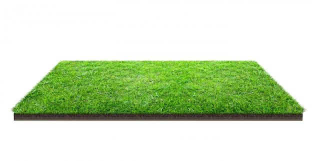 Zielonej trawy pole odizolowywający na bielu z ścinek ścieżką. boisko sportowe. letnie gry zespołowe.