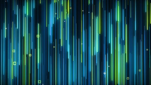 Zielono-niebieska neonowa animowana ściana vj