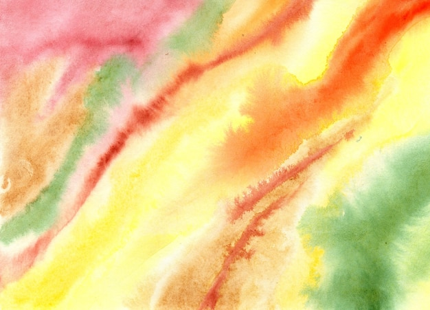 Zielonożółty z czerwoną akwarelą wielokolorową teksturą rozmazany szablon powłoki malarskiej