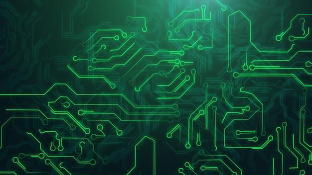 Zielony abstrakcjonistyczny tło z zaawansowany technicznie obwód płytką