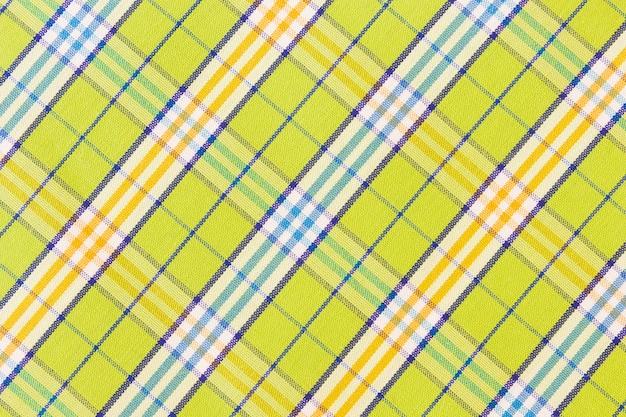 Zielony bawełniany materiał w kratkę tekstylny tekstury tło