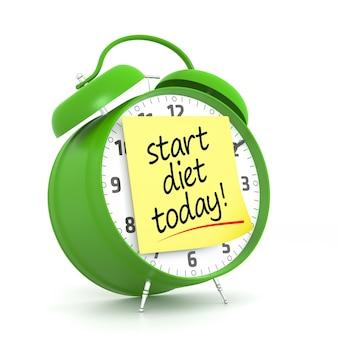 Zielony budzik z żółtym klejem planowanie diety. renderowanie 3d