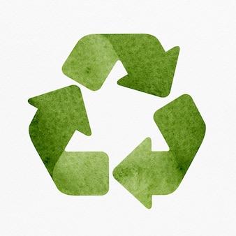 Zielony element projektu ikony recyklingu