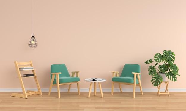 Zielony fotel i stół w brązowym salonie