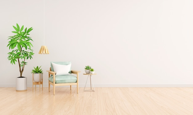 Zielony fotel w białym wnętrzu salonu z miejscem na kopię dla makiety