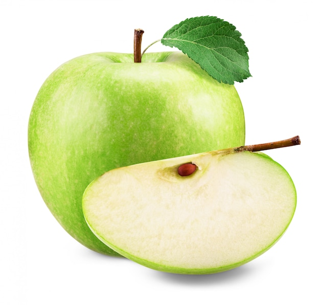 Zielony jabłko na białym tle