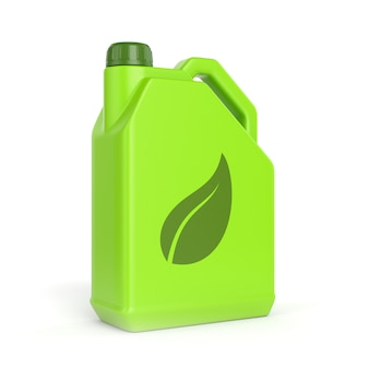 Zielony kanister z symbolem liścia