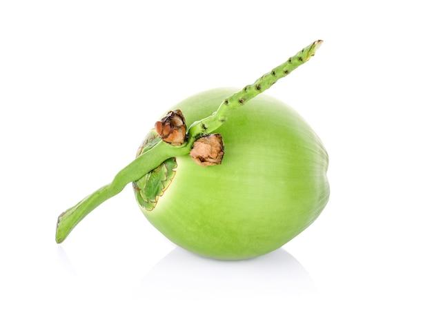 Zielony kokos na białym tle