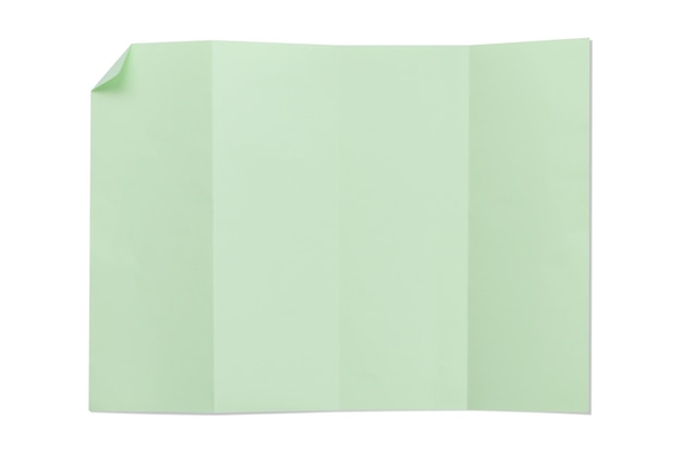 Zielony kolor pusty składany papier 4a na białym tle z cieniem.