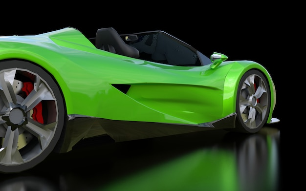 Zielony koncepcyjny sportowy kabriolet do jazdy po mieście i torze wyścigowym