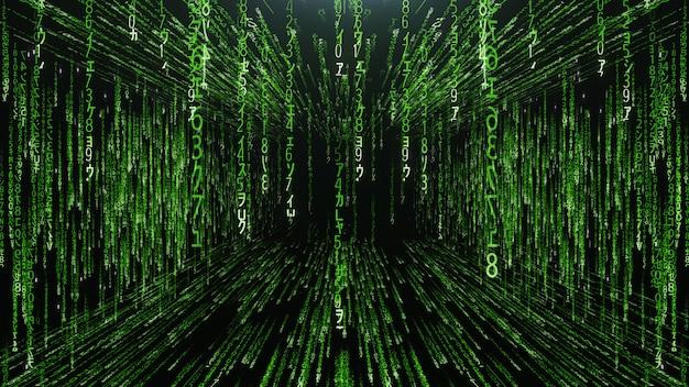 Zielony korytarz od spadających liczb