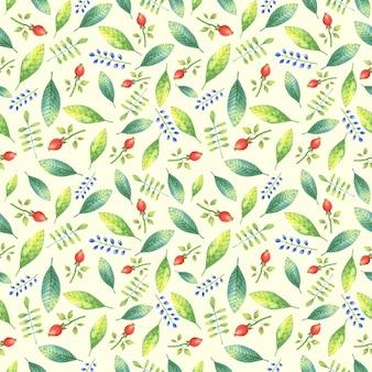 Zielony kwiatowy wzór z liści i gałęzi z wizerunkiem czerwonych jagód