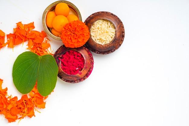 Zielony liść i ryż apta, indyjski festiwal dusera