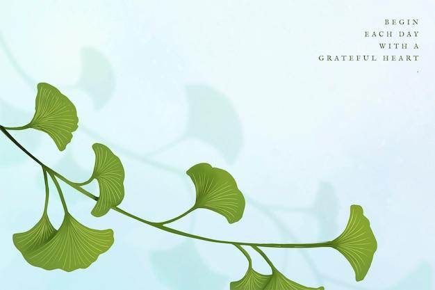 Zielony liść miłorzębu w ramce w tle
