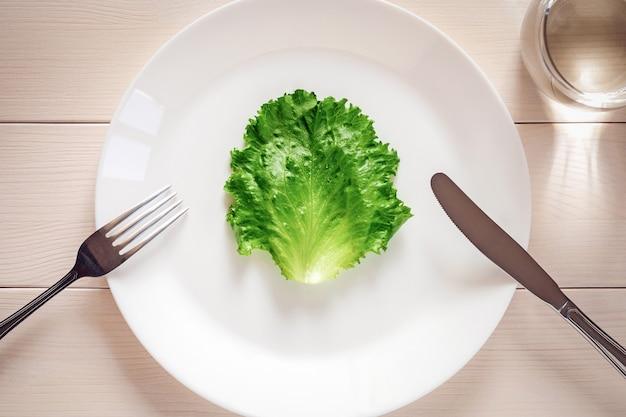 Zielony liść sałaty na talerzu widok z góry - ścisła koncepcja diety