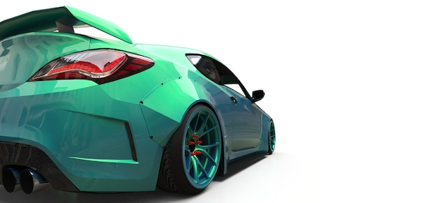 Zielony mały samochód sportowy coupe. renderowania 3d.