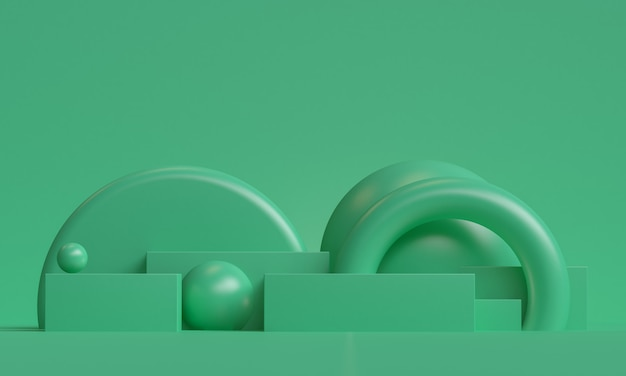 Zielony minimalistyczny prymitywny geometryczny abstrakcyjne tło, stylowa modna ilustracja podium, stojak, prezentacja w pastelowym kolorze dla produktu premium. renderowania 3d.