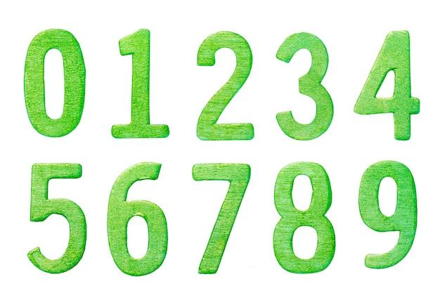 Zielony numer 0-9 na białym tle