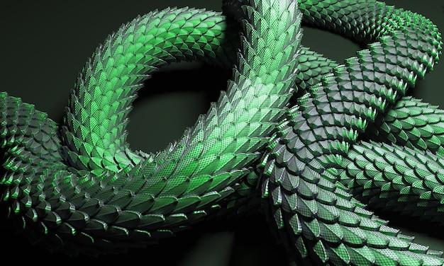 Zielony ogon smoka chińskiego 3d