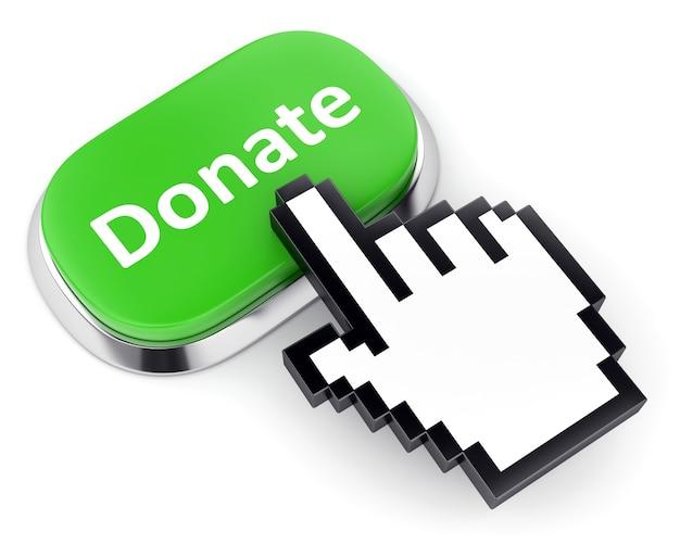 Zielony przycisk darowizny i kursor ręki