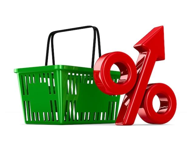 Zielony pusty koszyk na zakupy i procent na białym tle. izolowana ilustracja 3d