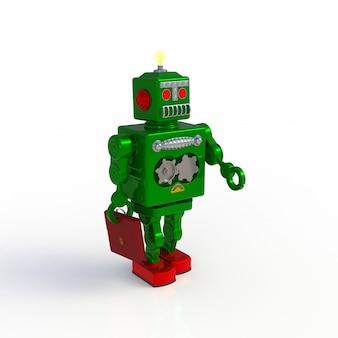 Zielony retro robot trzyma teczki 3d ilustrację