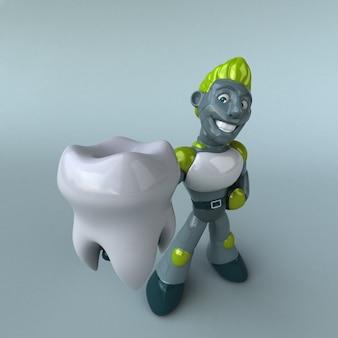 Zielony robot - 3d ilustracja