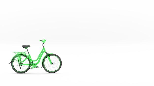 Zielony rower w lewym dolnym rogu ramy, ilustracja 3d