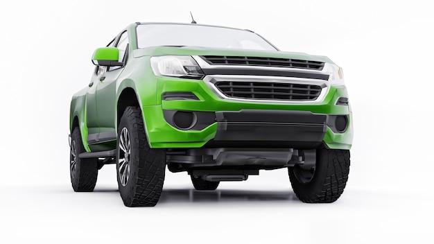 Zielony samochód pickup na białym tle. renderowania 3d.