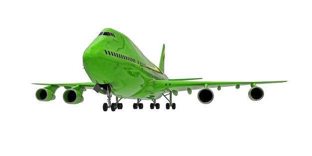 Zielony samolot na na białym tle. duże samoloty pasażerskie o dużej pojemności do długich lotów transatlantyckich. ilustracja 3d.