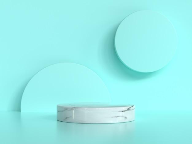 Zielony ścienny scena okręgu okręgu kształta bielu marmur ustawia abstrakcjonistycznego tła 3d rendering