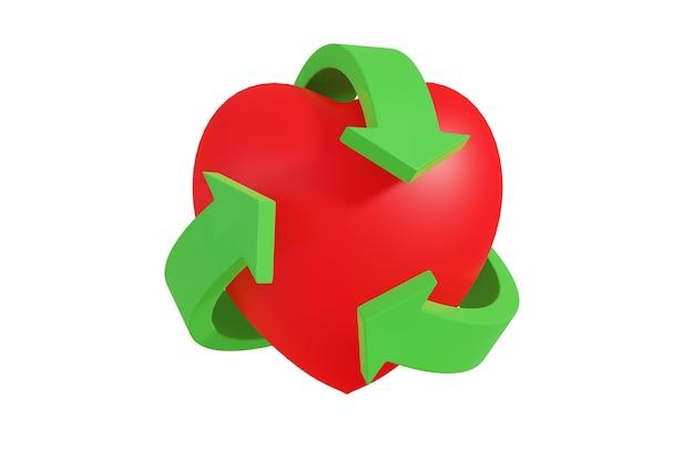 Zielony symbol recyklingu otaczający serce