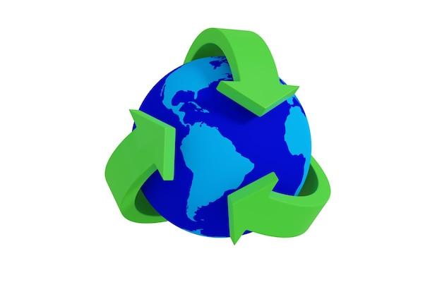 Zielony symbol recyklingu wokół ziemi na białym tle. ilustracja 3d.