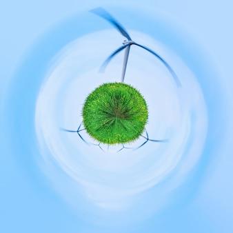 Zielony z niewielkim efektem planety